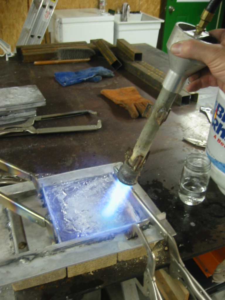 (4) Melting the lead to smooth  the surface.